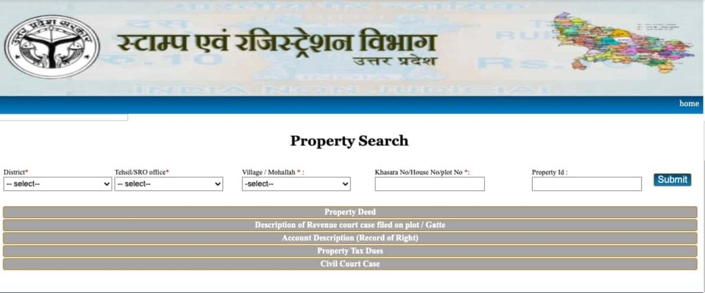 how to get property details on igrsup portal